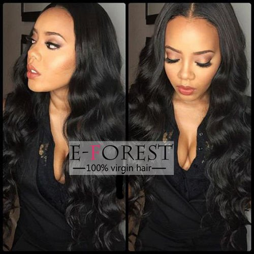 E-forest hair Fashion 130% Density Brazilian Remy Body Wave Middle Part Human Hair Full Lace Wigs Baby Hair ,26 inch,Natural Color and Medium Cap Size For Women