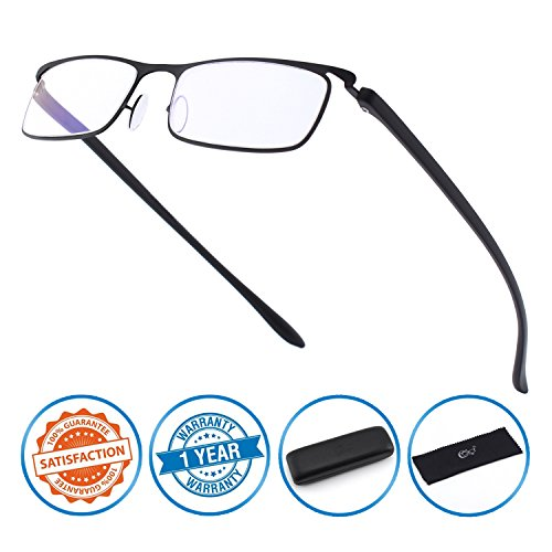 (CGID Anti-Blue light Reading Glasses, Computer Readers with TR90 Frame for Men and Women,QKX001)