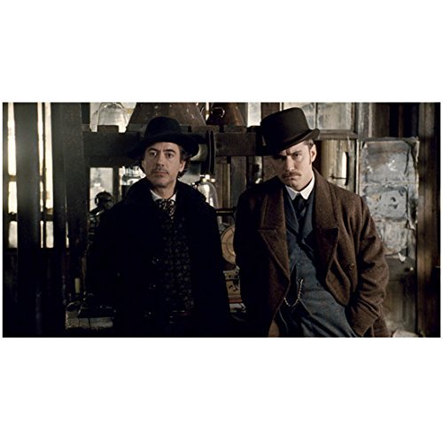 Sherlock Holmes (2009) 8 inch x 10 inch PHOTOGRAPH Robert Downey, Jr. Black Hat & Overcoat w/Jude Law Brown Hat & Overcoat Grey Suit (Overcoat Sherlock)