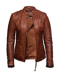 Brandslock Womens Genuine Leather Biker Jacket Lambskin Vintage