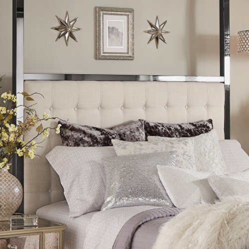Inspire Q Solivita Black Nickel Metal Queen-size Canopy Poster Bed by Bold Off White
