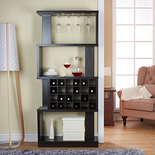 Wine bar cabinet rack room divider 4 tier shelves glass for Home bar furniture abu dhabi