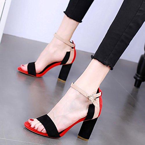 Rough De Tacones Sandalias Verano Moda De De black Sexy Los Pies Zapatos KPHY Toque 9Cm Color Tacones Dedos Ajuste En Mujer Un 0w6xqW5YX