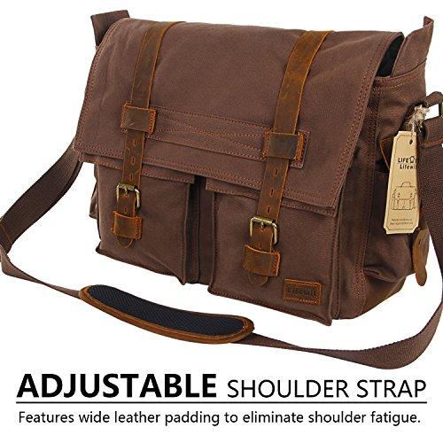 389a973619bb Lifewit 17.3″ Men s Messenger Bag Vintage Canvas Leather Military Shoulder  Laptop Bags (Coffee)