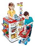 Vinsani Kids Role Play Supermarket Set Superstore Shop Toys Children Supermarket Lights and Sound(Red)