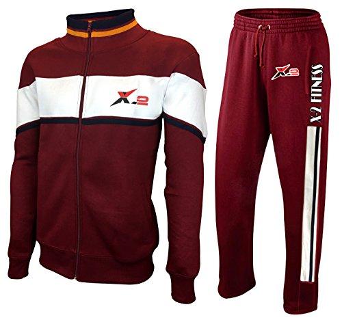 X-2 Mens Full Zip Fleece Tracksuit Jogging Sweatsuit Activewear White-Maroon XL