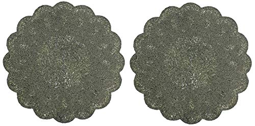Cotton Craft - 2 Pack Beaded Placemat Set - Scalloped Round Hand Beaded Charger Placemat - Grey - 14 Inches Round - Hand Made by Skilled artisans - A Beautiful complement to Your Dinner Table décor ()
