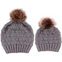 2PCS Parent-Child Hat, Mother Child Daughter Son Baby Winter Warm Soft Knit Hat Family Crochet Beanie Ski Cap with Pom Pom