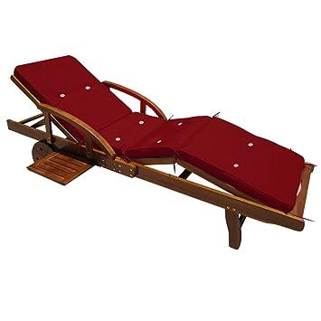 Detex® Coussin pour transat chaise longue de jardin Rouge 195 cm ...