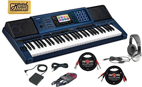 Casio keyboard MZ-X500 Digital Piano Arranger casio Keyboard 61 Keys piano kit with foot pedal for keyboard Yamaha, Stereo Headphone, Instrument Cable, microphone cable and Zorro Sounds piano Cloth