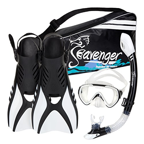 Seavenger Advanced Snorkeling Set with Panoramic Mask, Trek Fins, Dry Top Snorkel & Gear Bag (White, X-Small)