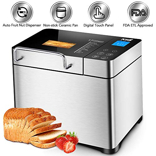 KBS Stainless Steel Bread Machine,1500W 2LB 17-in-1 Programmable XL Bread Maker with Fruit Nut Dispenser, Nonstick Ceramic Pan& Digital Touch Panel, 3 Loaf Sizes 3 Crust Colors, Reserve& Keep Warm Set