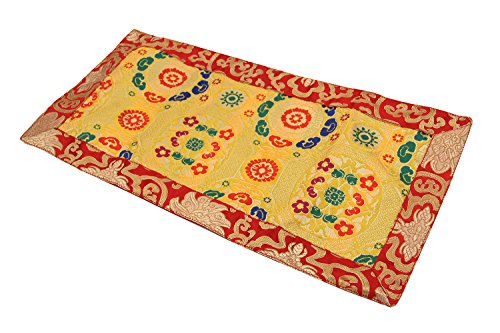 Dharmaobjects Tibetan Buddhist silk brocade table runner/shrine cover/altar cloth/table cover (20 X 10 Inches) by Dharmaobjects