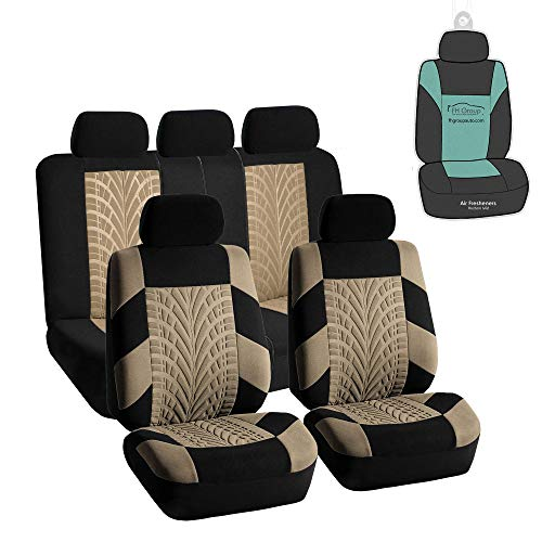 FH Group Travel Master Full Set Car Seat Covers, Airbag & Split Ready w. Gift, Beige/Black Color- Universal Fit for Trucks, SUVs, and Vans