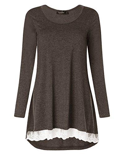 shirt Elegante Casual Loose StyleDome Manica Bello Maglietta Caff Donna Moda Lunga T wxYq8Xv