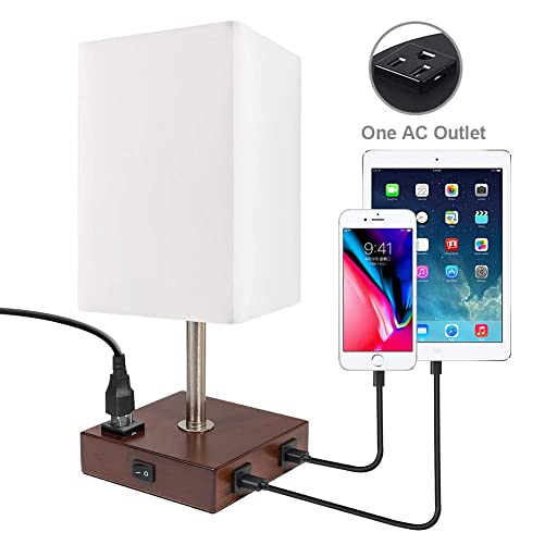 DEEPLITE Table Lamp Bedside Nightstand Lamp with Dual USB Ports and Outlet, Modern Desk Lamp with Brown Wooden Base Fabric Shade, Ambient Light for Bedroom, Living Room, Gust Room, Office Square