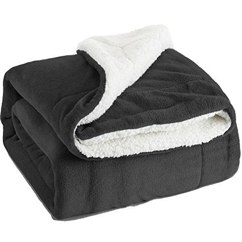 Bedsure Sherpa Bed Blanket Dark Grey Queen size 90x90 Black Bedding Fleece Reversible Large Blanket for Bed and Couch