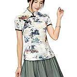 Shanghai Story Cheongsam Style Shirt Short Sleeve Qipao Top Chinese Blouse M 12B