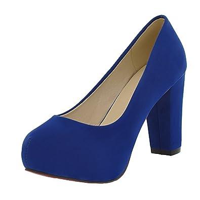 Agodor Damen Blockabsatz High Heels Pumps mit 10cm Absatz und Plateau Geschlossen Elegante Arbeit Schuhe