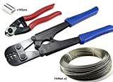 Muzata328Feet 1/8Inch Rope Cable,Hand Crimper Tool,Cable Cutter and Crimping Loop Sleeve Set