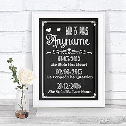 Cartel de boda personalizado, estilo pizarra, fechas ...