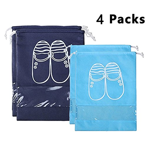 (YAMIU 4 Pcs Shoe Bags Dust-Proof Drawstring with Transparent Window Travel Shoe Storage Bags)