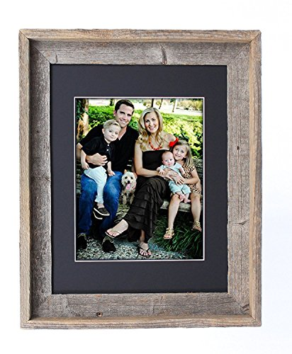 BarnwoodUSA 16X20 Inch Signature Picture Frame for 11X14 Inch Photos- 100% Reclaimed Wood, Black Mat