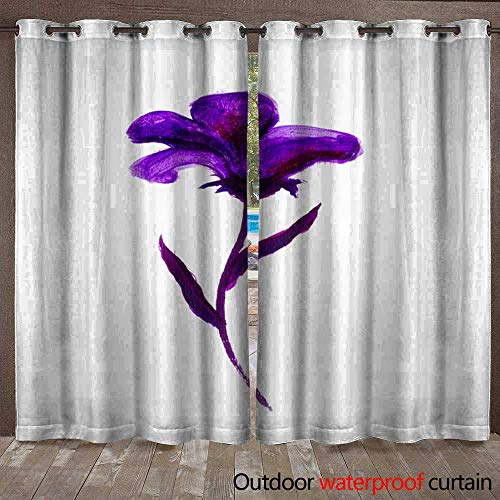 BlountDecor Outdoor Waterproof Curtain Floral Summer Design with Hand-Painted Abstract Flowers Purple Colors on White Background Waterproof CurtainW120 x ()