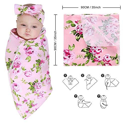 Stretchy Knitted Baby Swaddle Blanket with Headband Set, 35\