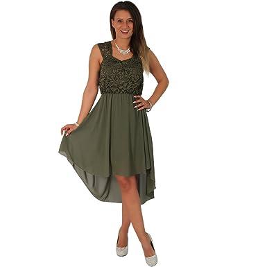 Fashion Cocktailkleid Tanzkleid Chiffon Minikleid Vokuhila Kleid Abendkleid  Partykleid Spitze (36 38, Olive 64bc51986f