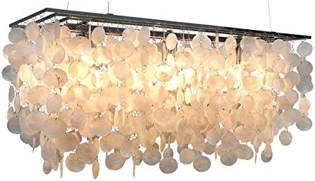 Design Hängelampe SHELL REFLECTIONS 80cm Muscheln Perlmutt Hängeleuchte Maritim