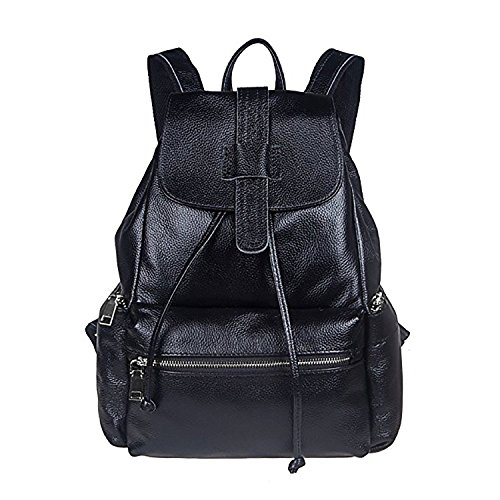 S-ZONE Vintage Hot Style Casual Daily Women Real Genuine Leather Backpack Rucksack Fashion Bag Weekender Daypack Bag (Black Large)