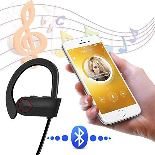 Nanle HD Stereo Wireless Headphones Curve Bluetooth 4.1 Best Sports Earphones Waterproof Sound Sweatproof Earbuds for Gym Running Workout 8 Hour Battery Noise Cancelling Headsets (Color : Red) by Nanle (Image #5)