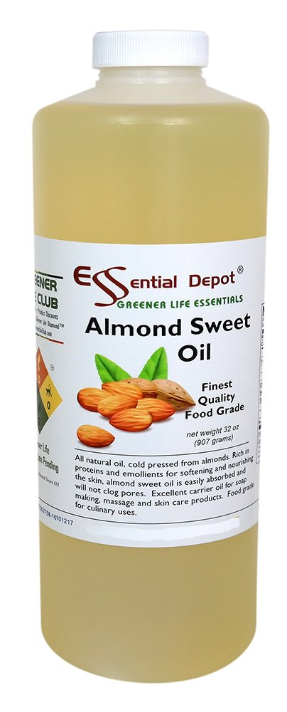 Almond Sweet Oil - 1 Quart - 32 oz - Safety Sealed HDPE Container with resealable Cap - 100% Pure and Natural for Hair, Skin, Massage and Cooking