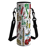 iPrint Water Bottle Sleeve Neoprene Bottle Cover,Italy,Fun Colorful Sketch Collection Italy Icons Countries Alphabet Landmarks Food Culture Decorative,Multicolor,Fit for Most of Water Bottles