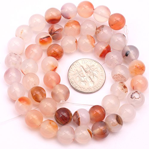 8MM Natural Semi Precious Round Red Leaf Carnelian Gemstone Beads for Jewelry Making Strand 15