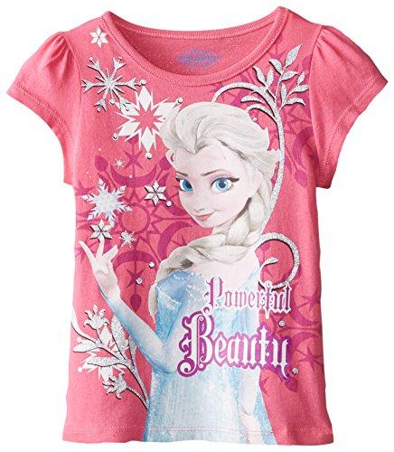 Disney Little Girls' Short Sleeve Frozen Beauty Tee, Pink, 5