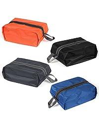 Travel Shoe Bag,Portable Waterproof Nylon Shoe Storage Bag Organizer with Zipper for Men&Women,Set of 4 Multicolor Shoe Packing Bag