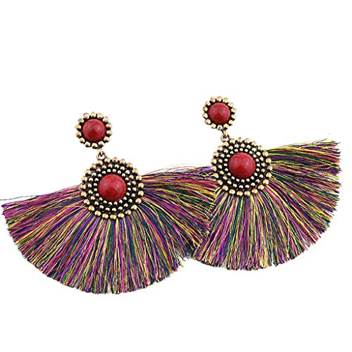 Women Vintage Jewelry Creative Turquoise Geometric Long Tassel Earrings Boho Ethnic Style Pendant (Multicolor)