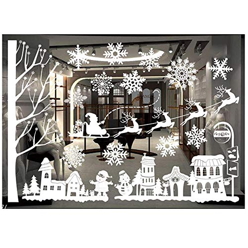 Christmas Wall Stickers, Hoshell Merry Christmas Santa Claus Elk Snowman Xmas Happy New Year Removable Art Vinyl Mural Home Room Decor Glass Window Wall Stickers (D)