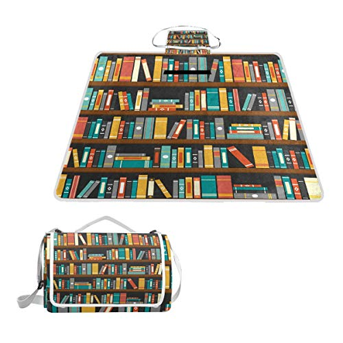 Vector of Library Book Shelf Picnic Blanket Mat, Waterproof Foldable Play Mats for Kids, Babies, Families - Protective Beach Blankets for Park, Camping, Yard, Lawn, Sand (Park Stadium Replica)