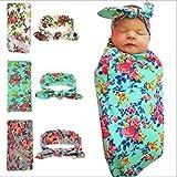 GMJF Baby Blanket&Headband Set,Newborn Baby Sleep Swaddle Blanket,Newborn Baby Beanie Hat,Pack of 3 sets