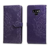 Cheap Leather case for Samsung Galaxy Note 9 2018 release, Full Body Protective with Exquisite Mandala, Wallet case with rubber inner, Magnetic Lifeproof Flip case for Note 9 (2018) 6.4 inch (Purple)