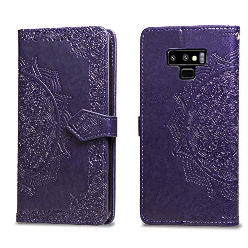 Leather case for Samsung Galaxy Note 9 2018 release, Full Body Protective with Exquisite Mandala, Wallet case with rubber inner, Magnetic Lifeproof Flip case for Note 9 (2018) 6.4 inch (Purple)