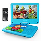 "DBPOWER 9"" Portable DVD Player for Kids, Swivel Screen, 3 Hours Rechargeable Battery, SD Card Slot and USB Port (Blue)"