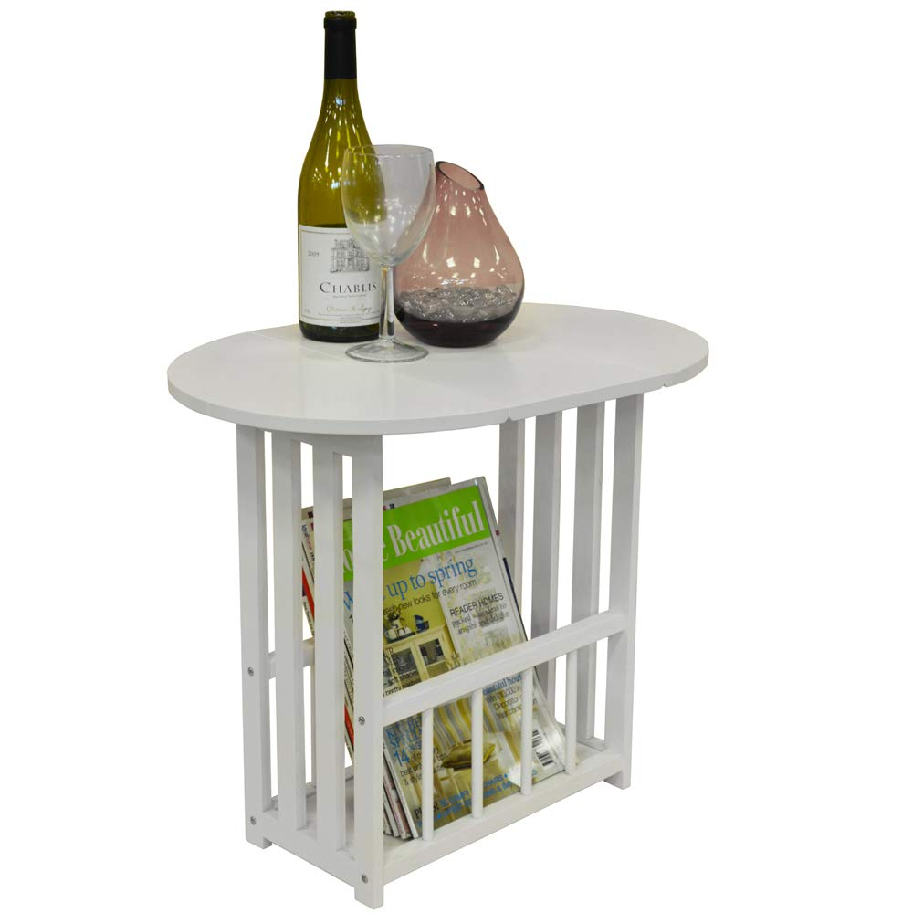 WATSONS HAUGHTON - Swivel Top Side/End Table with Storage Rack - White