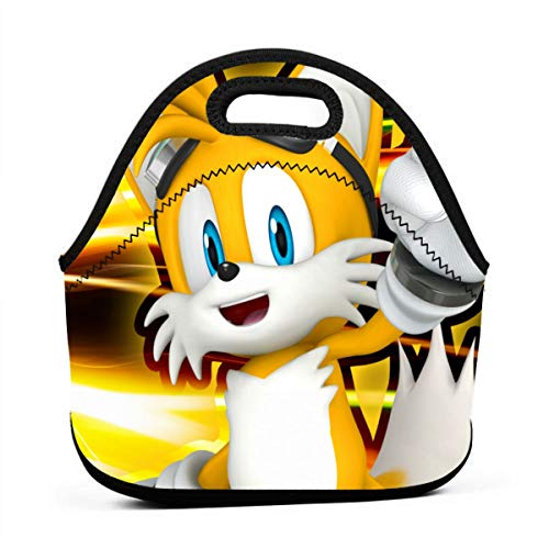 Cartoon Character Sonic Team Tail Insulated Lunch Bag Tote For Adult/Kids - Reusable Soft Neoprene Personalized Lunchbox Handbag For -