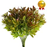 Nahuaa 4PCS Artificial Plants Outdoor Fake Greenery Bush Faux Plastic Shrubs Indoor Outside Table Centerpieces Arrangements Home Kitchen Office Windowsill Spring Decorations