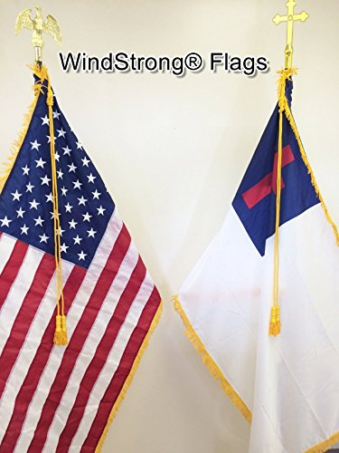 7 FT Combo Deluxe U.S. and Christian Indoor Flag Pole Sets With Gold Fringed Windstrong Flags, Eagle, Cross, Base, Oak Pole, Tassels and Flag Spreaders by WindStrong®