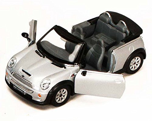 Mini Cooper S Convertible, Silver - Kinsmart 5089D - 1/28 scale Diecast Model Toy Car (Brand New, but NO BOX)